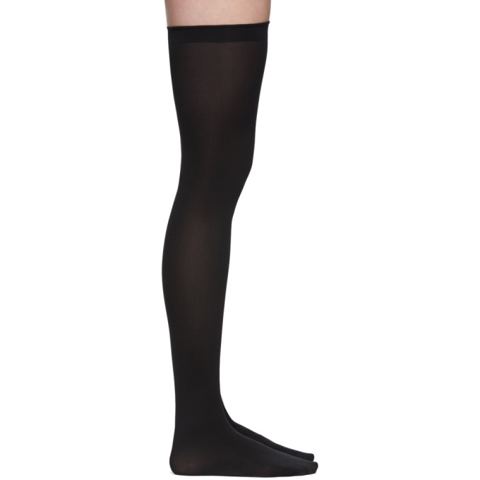 Image of Wolford Black Fatal 80 Seamless Stay Up Socks