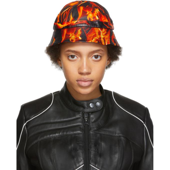 MARINE SERRE | Marine Serre SSENSE Exclusive Black And Orange Leather Fire Bucket Hat | Goxip