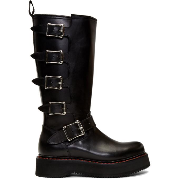 3e040007cda R13 Black High Moto Boots