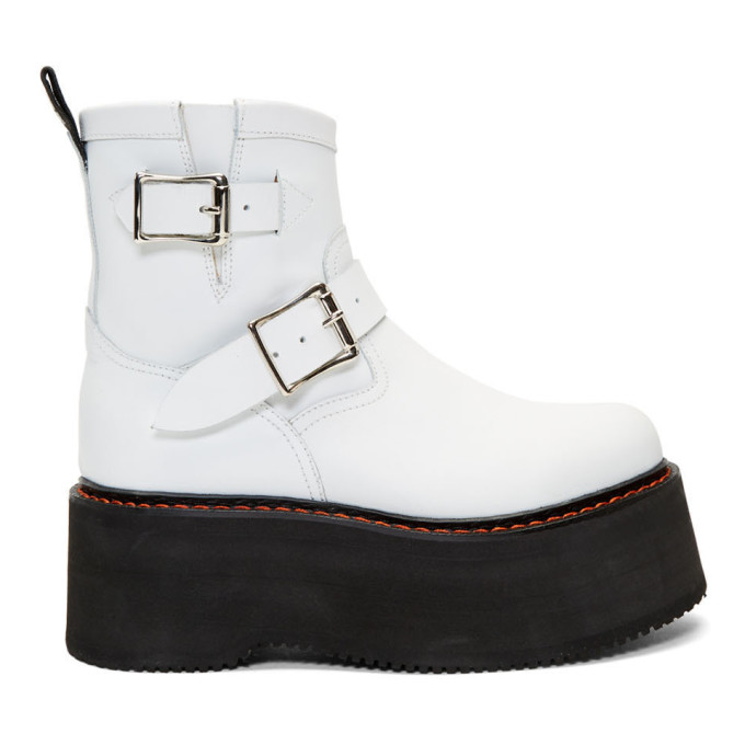 R13 Bottes blanches Double Stack Engineer