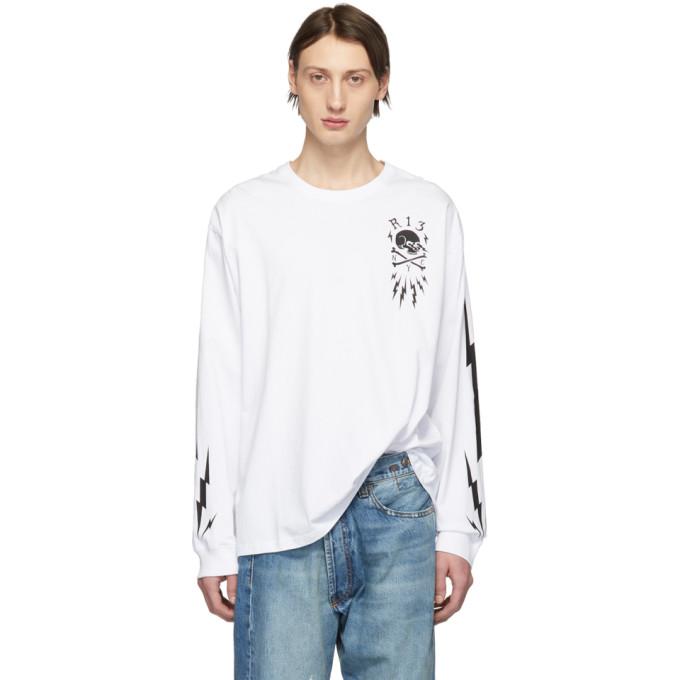 R13 T-shirts R13 WHITE SKULL BOLT LONG SLEEVE T-SHIRT