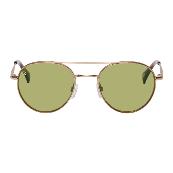 RAEN Raen Gold And Green Aliso Sunglasses in Gld Tort Ol