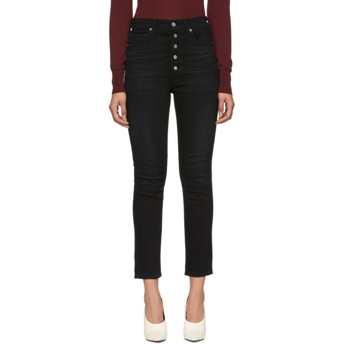Image of Citizens of Humanity Black Olivia High-Rise Exposed Fly Jeans