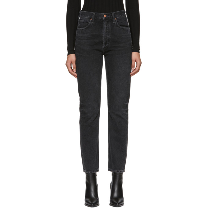 Image of Citizens of Humanity Black Charlotte High-Rise Straight Jeans