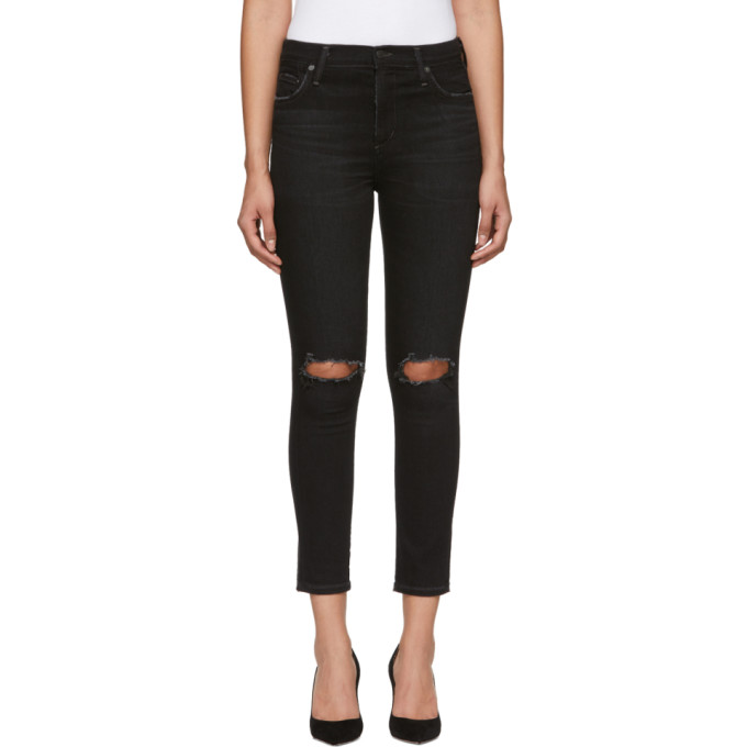 Image of Citizens of Humanity Black Rocket Crop High-Rise Skinny Jeans