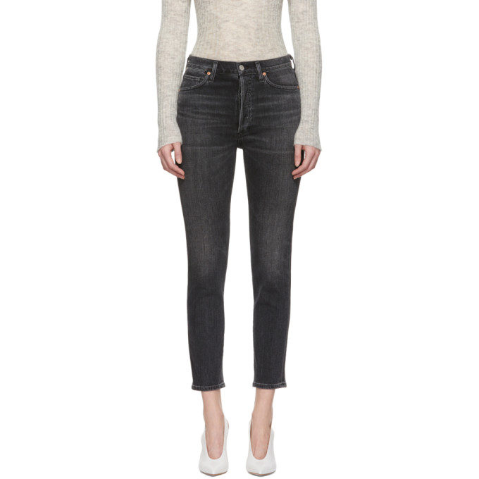 Image of Citizens of Humanity Black High-Rise Slim Ankle Olivia Jeans