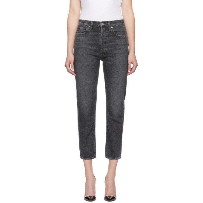 Image of Citizens of Humanity Black High-Rise Straight Cropped Charlotte Jeans