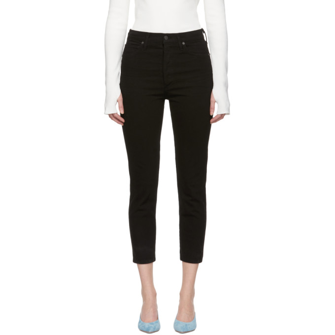 Image of Citizens of Humanity Black Olivia High-Rise Slim Cropped Jeans