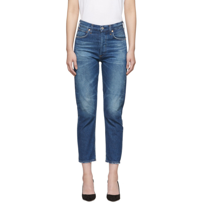 Image of Citizens of Humanity Blue Charlotte Crop High-Rise Jeans