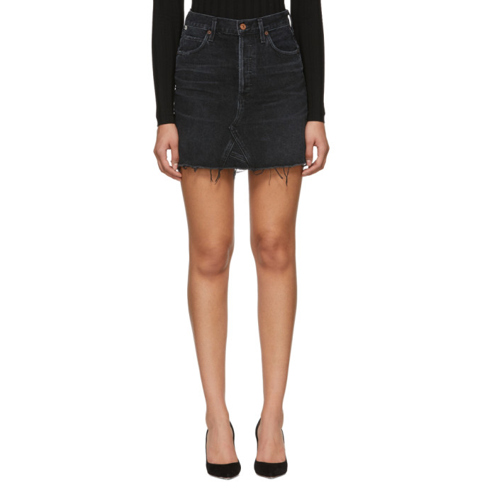 Image of Citizens of Humanity Black Denim Astrid Miniskirt