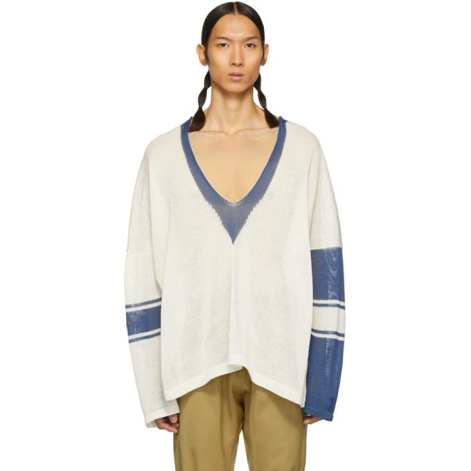 Sulvam ホワイト and ブルー スクール ニット セーター