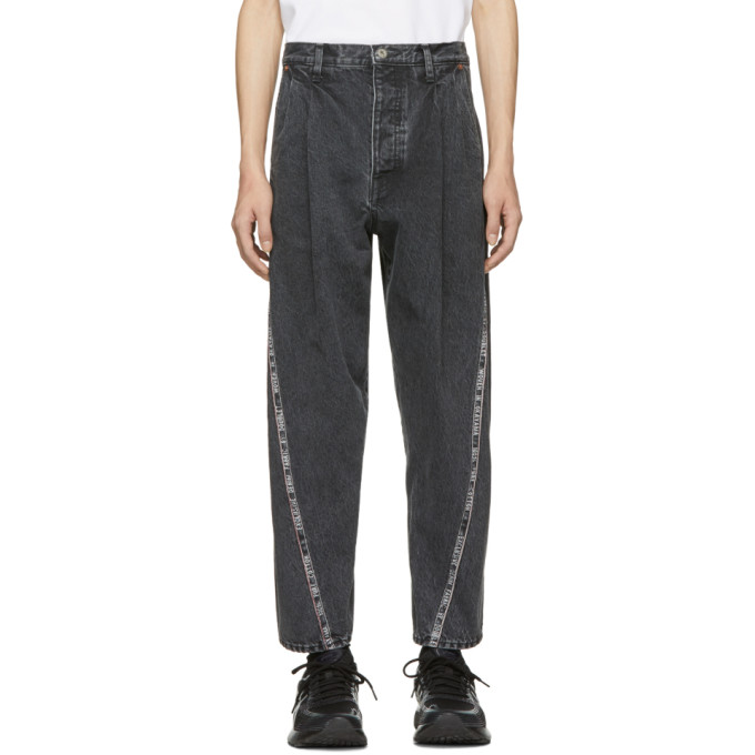 Image of Doublet Black Selvedge Line 3D Cutting Jeans