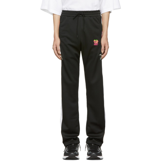 Doublet  DOUBLET BLACK CHAOS EMBROIDERY TRACK PANTS