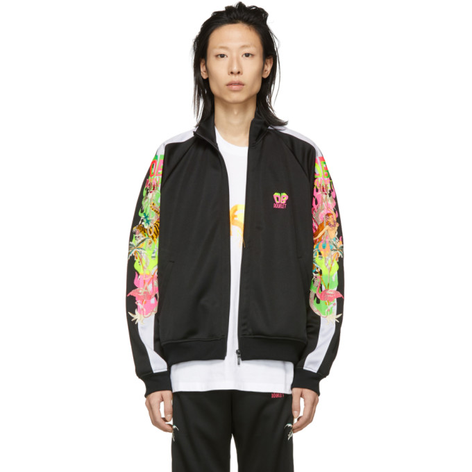 Image of Doublet Black Chaos Embroidery Track Jacket