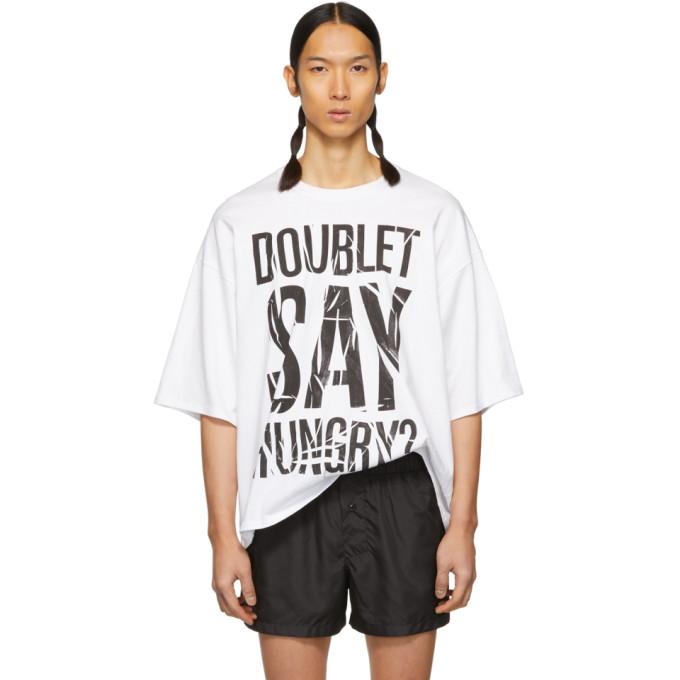 Doublet  DOUBLET WHITE COMPRESSED INSTANT NOODLE SLOGAN T-SHIRT