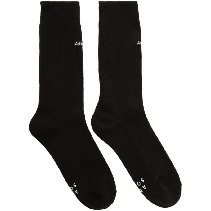 ADER error Black Embroidered Logo Socks thumbnail