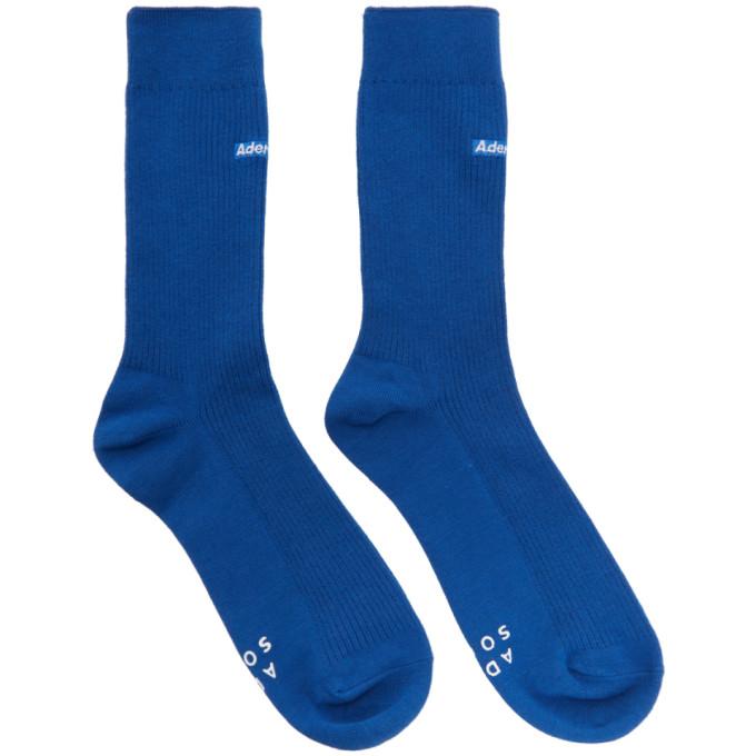 ADER error Blue Embroidered Logo Socks thumbnail