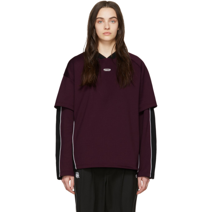 ADER error T-shirt a manches longues mauve et noir Football ASCC exclusif a SSENSE