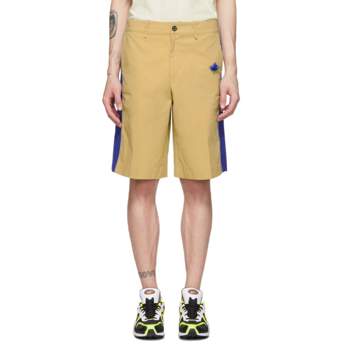 ADER error Beige and Blue Panel Shorts