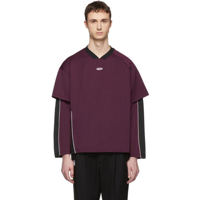 ADER error SSENSE Exclusive Purple and Black ASCC Football Fit Long Sleeve T-Shirt