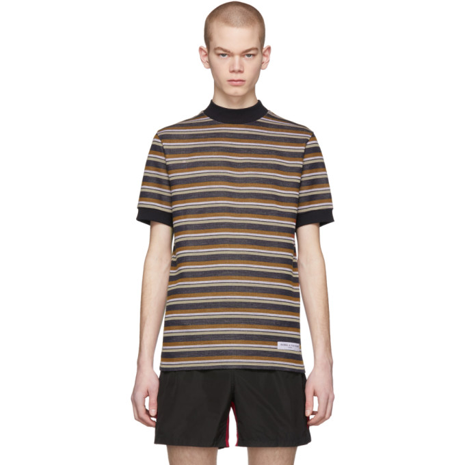 Image of Daniel W. Fletcher Black Vintage Striped T-Shirt