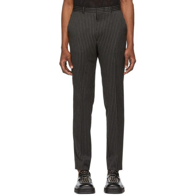 Image of SSS World Corp Black Pin Stripe Bad Straight Trousers