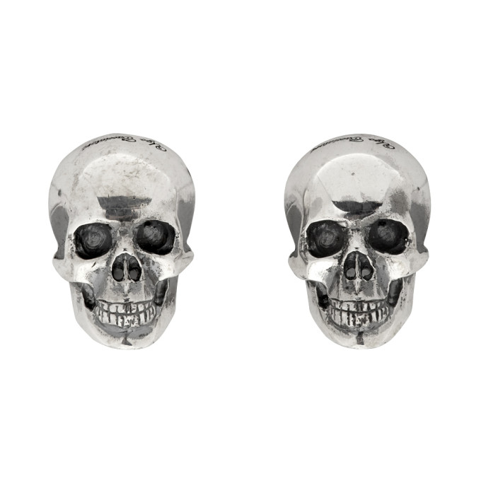 Ugo Cacciatori Silver Half Skull Stud Earrings