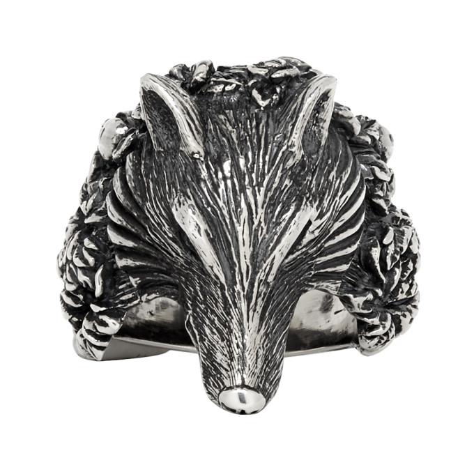 Ugo Cacciatori Silver Small Wolf Ring