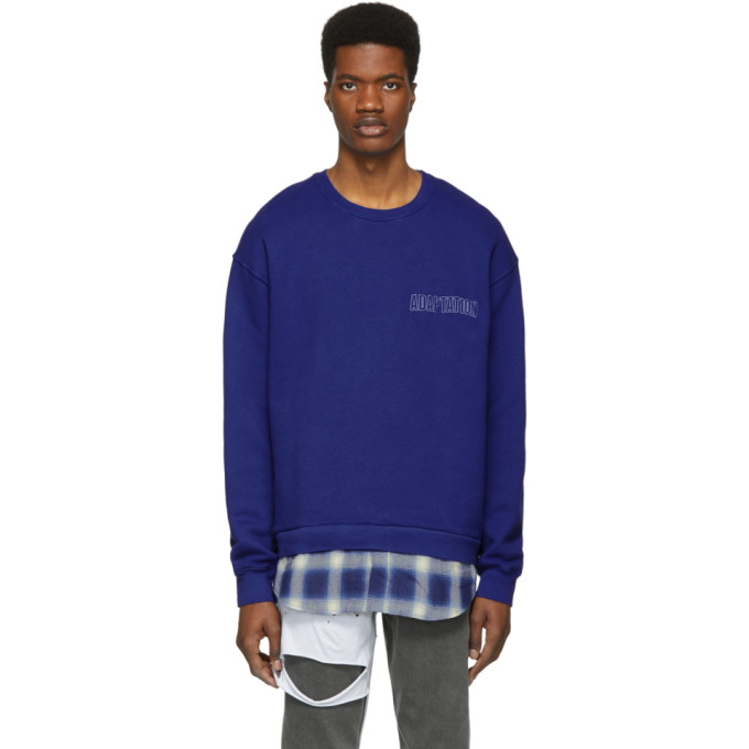 Image of Adaptation Blue Plaid Logo Sweatshirt