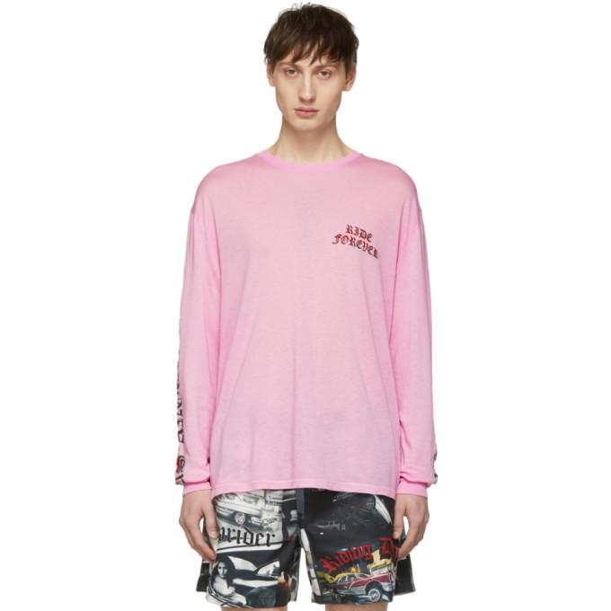 Adaptation T-shirt a manches longues et logo rose