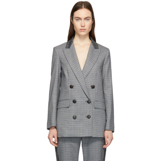 Ellie Double-Breasted Checked Wool-Blend Blazer in 50 Ltgry/Bl