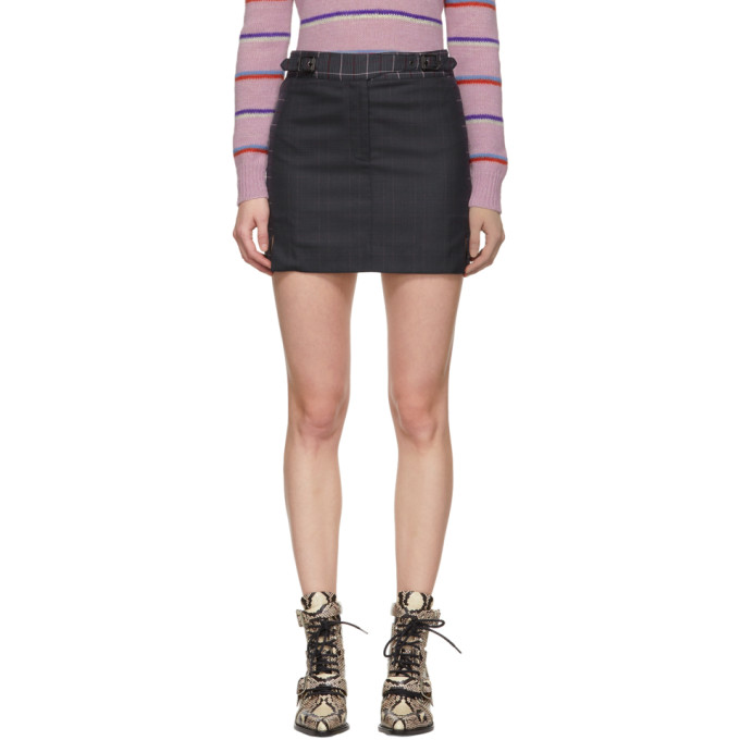 Rag And Bone Navy And Pink James Miniskirt in 410 Htpnk/N