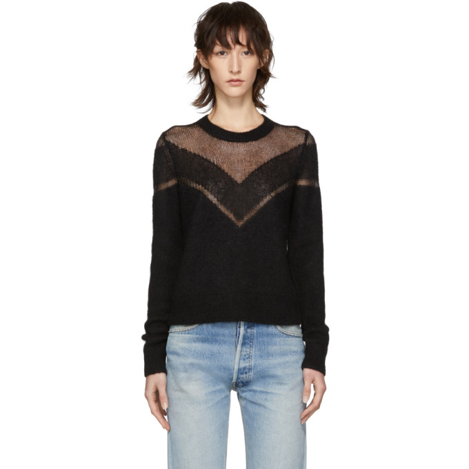 Rag And Bone Black Blaze Crewneck Sweater in 001 Black