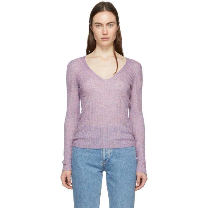 Rag And Bone Purple Donna V-Neck Sweater in Lilac