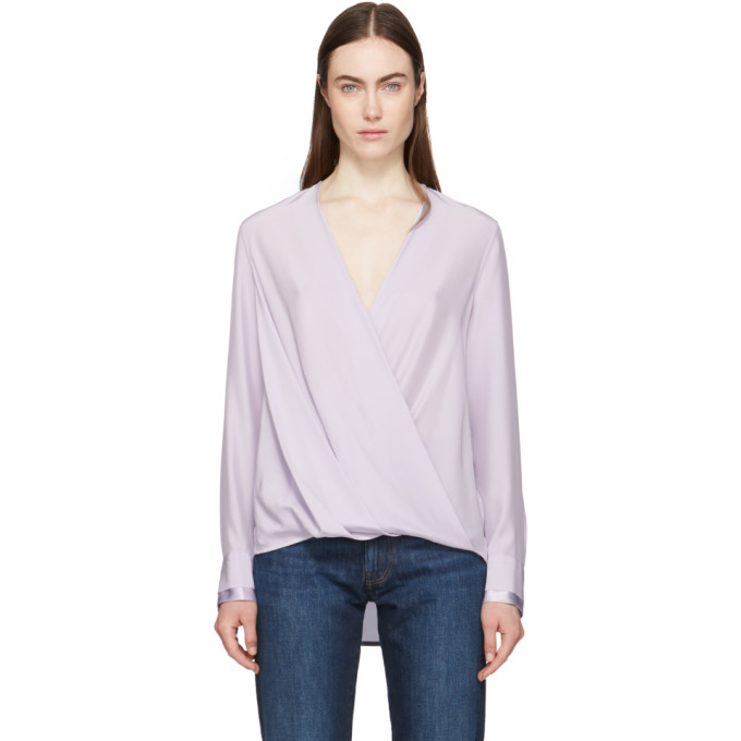 94ce5f7810de5 Rag   Bone Victor Long-Sleeve Drape-Front Blouse In Lilac