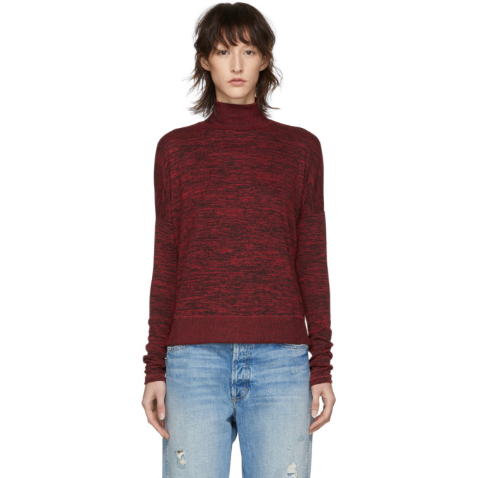 Rag And Bone Red Bowery Turtleneck in 662 Cndy Rd