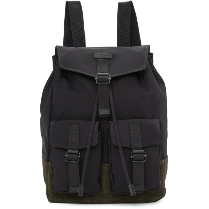 Field Water Resistant Nylon & Leather Backpack - Black