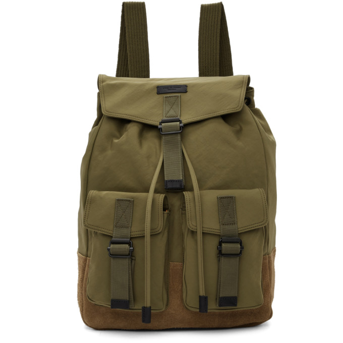 Field Water Resistant Nylon & Leather Backpack - Green in Olivenight