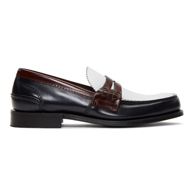 Image of Church's Navy & White Pembrey Loafers