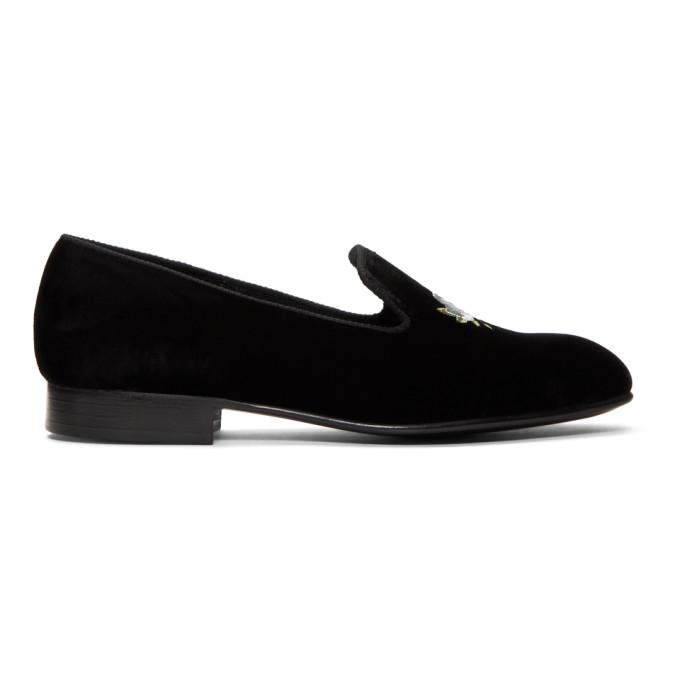 Image of Church's Black Velvet Sovereign Rose Slippers