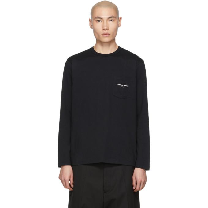 Image of Comme des Garçons Homme Black Logo Long Sleeve T-Shirt