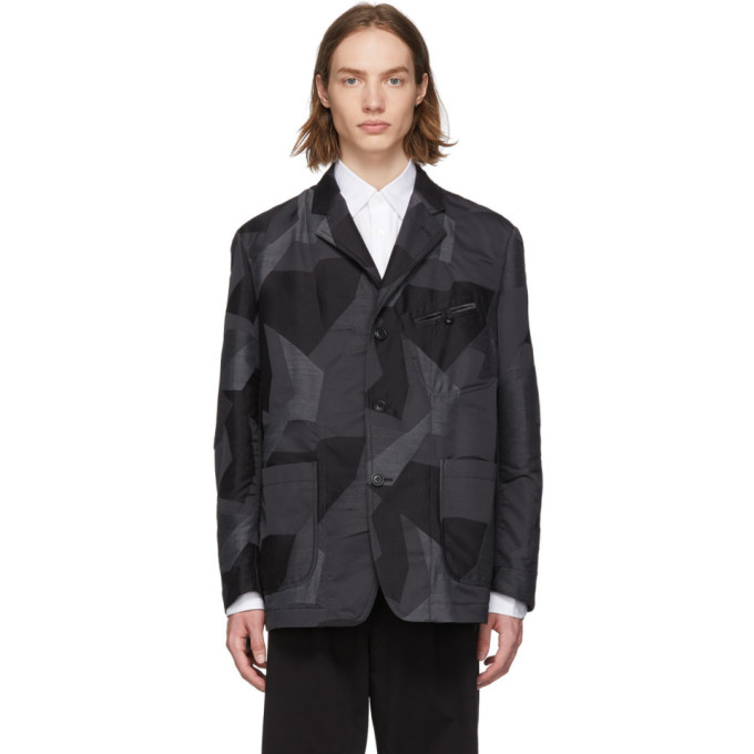 Image of Comme des Garçons Homme Black & Grey Camo Blazer