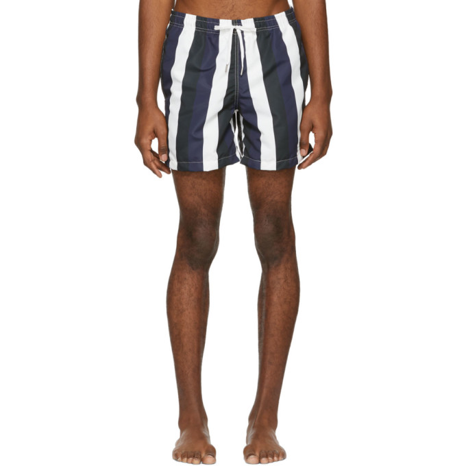 Image of Bather Navy & Black Striped Swim Shorts