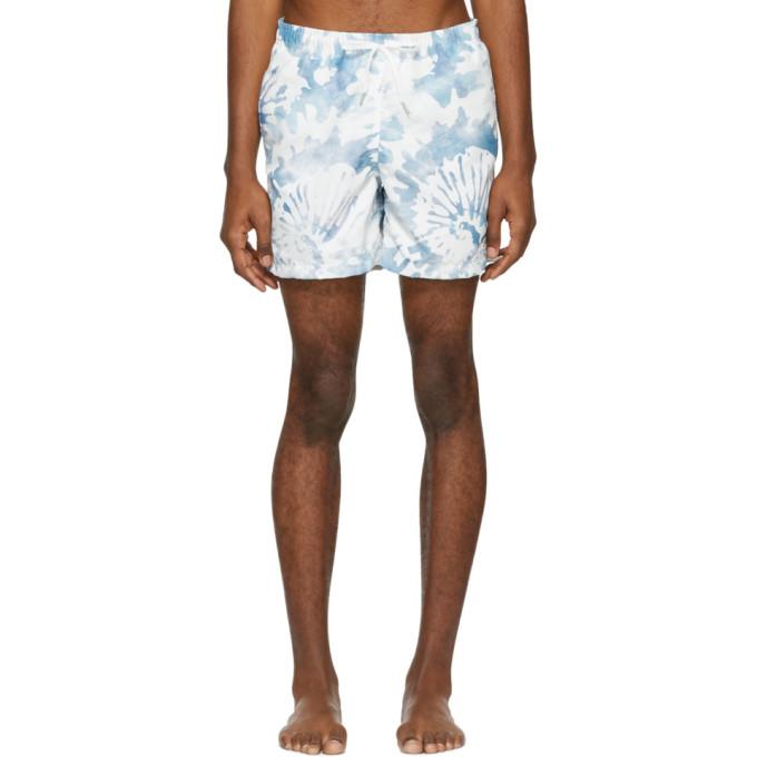 BATHER Bather White And Green Tie-Dye Swim Shorts