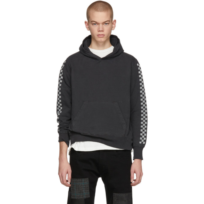 REMI RELIEF Remi Relief Black Checkered Flag Hoodie