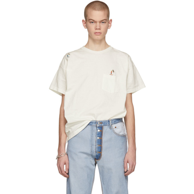 REMI RELIEF Remi Relief Off-White Skater Emblem T-Shirt in Off White