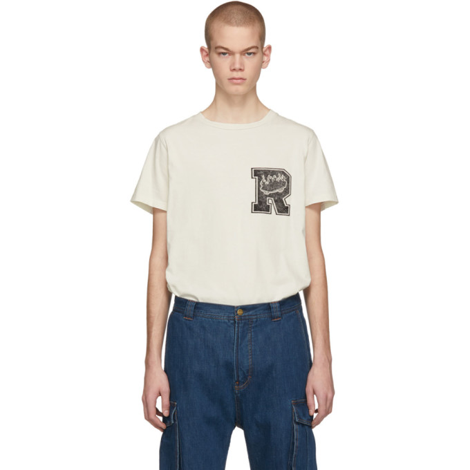REMI RELIEF Remi Relief Off-White Special Finish T-Shirt in Off White