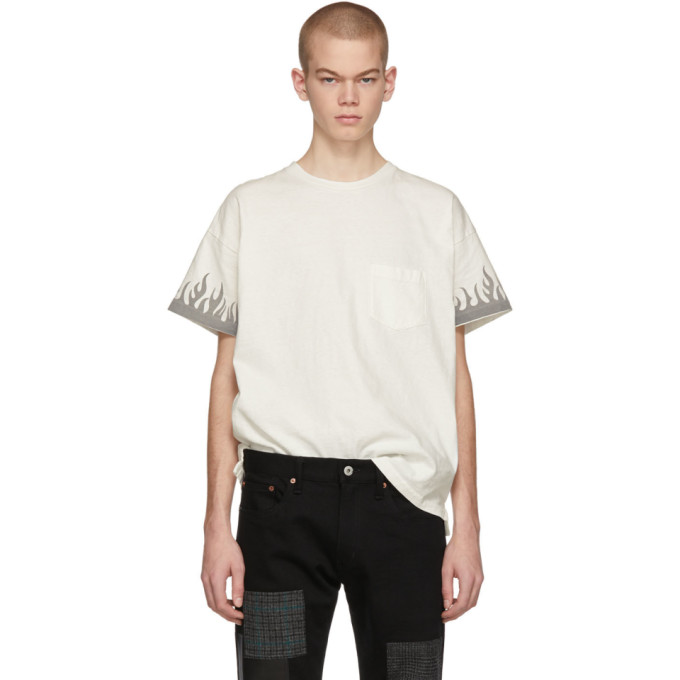REMI RELIEF Remi Relief Off-White Fire T-Shirt in Off White