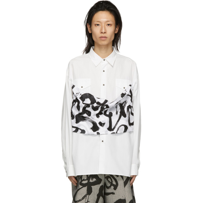 Kozaburo Chemise droite blanche Caligracamo Overlay