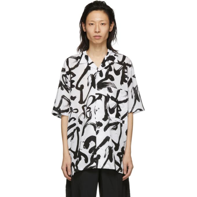 Kozaburo Chemise droite blanche et noire Caligracamo
